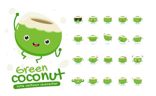 Zestaw Maskotka Zielony Kokos. Dwadzieścia Maskotek. Ilustracja Na Białym Tle Premium Wektorów