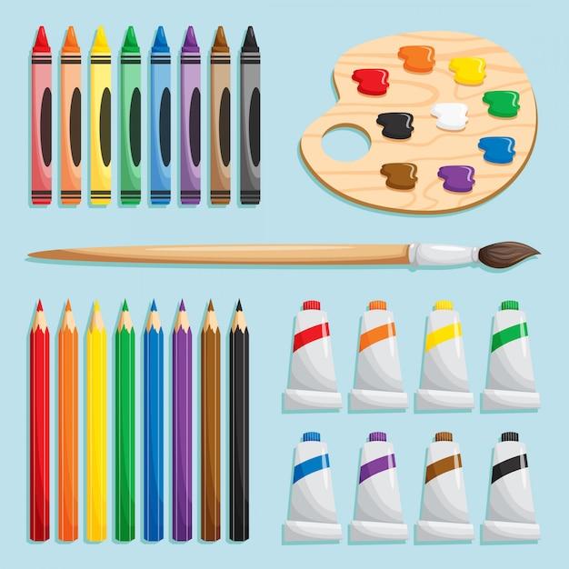 Zestaw Materiałów Do Kolorowania Premium Wektorów