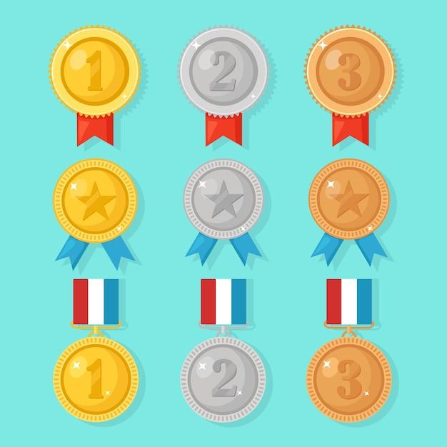 Zestaw Medali Premium Wektorów