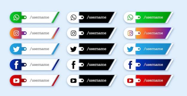 Zestaw Mediów Społecznościowych Niższe Trzecie Ikony Premium Wektorów