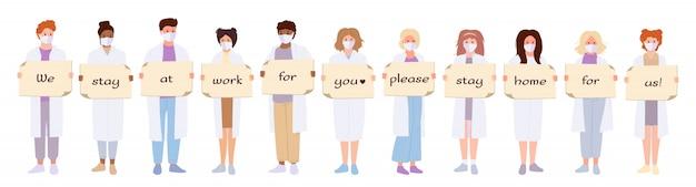 Zestaw Medyczny Biały Płaszcz Lekarzy. Międzynarodowi Naukowcy Utrzymują Sztandar Koronawirusa Premium Wektorów