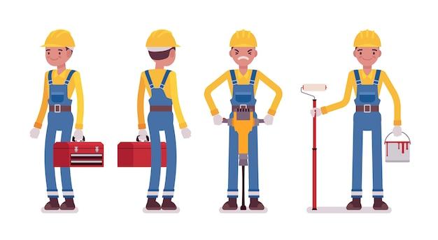 Zestaw męski pracownik z narzędziami, widok z tyłu i przodu Premium Wektorów