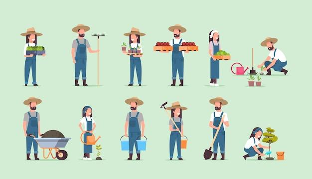 Zestaw Męskich Kobiet Rolników Posiadających Inny Sprzęt Rolniczy Zbiory Sadzenie Warzyw Pracowników Rolnych Kolekcja Eko Rolnictwo Premium Wektorów