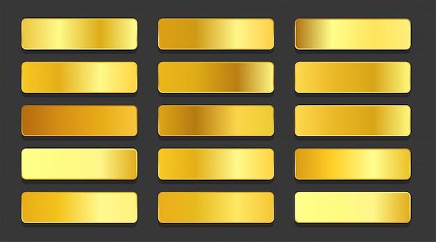 Zestaw Metalicznych Gradientów Z żółtego Złota Darmowych Wektorów
