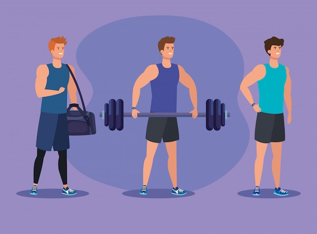 Zestaw Mężczyzn Fitness Z Torbą I Ciężarem Do ćwiczeń Premium Wektorów