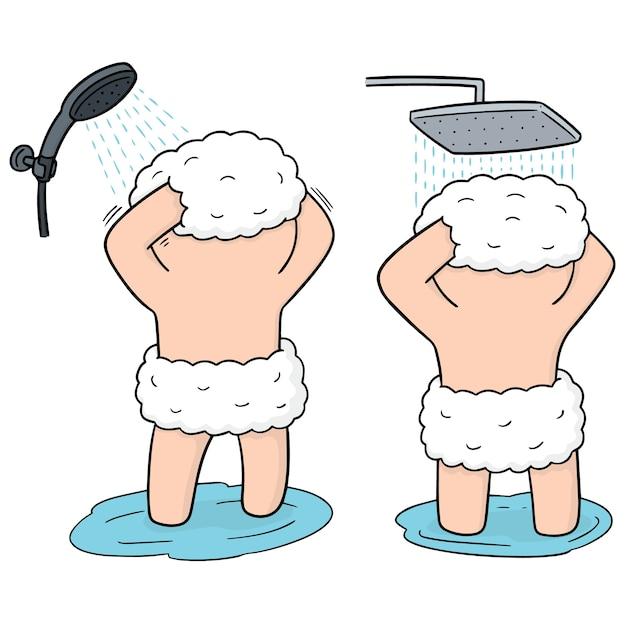 Zestaw Mężczyzn Pod Prysznicem Premium Wektorów
