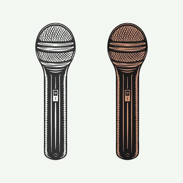 Zestaw Mikrofonów Retro Vintage Może Służyć Do Projektowania Logo Lub Godła Premium Wektorów