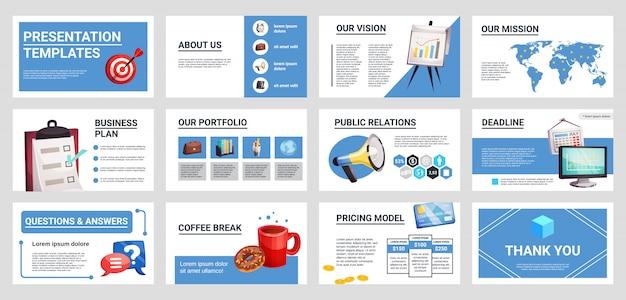 Zestaw mini banery prezentacji biznesowych Darmowych Wektorów