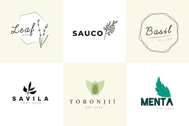 Zestaw minimalnych logo naturalnego biznesu Darmowych Wektorów