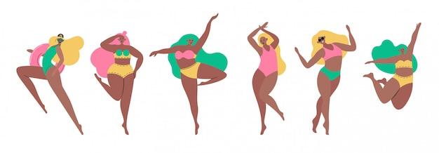 Zestaw Młodych Kobiet Pin Up Girls Ubranych W Modne Ubrania Swisuit. Grupa Działaczy Pozytywnych Lub Feministycznych. Postaci Z Kreskówek żeńskich Na Białym Tle. Płaskie Kolorowych Ilustracji Premium Wektorów