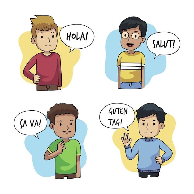 Zestaw młodych ludzi rozmawiających w różnych językach Darmowych Wektorów
