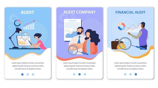 Zestaw mobilnej strony docelowej oferuje audyt finansowy Premium Wektorów