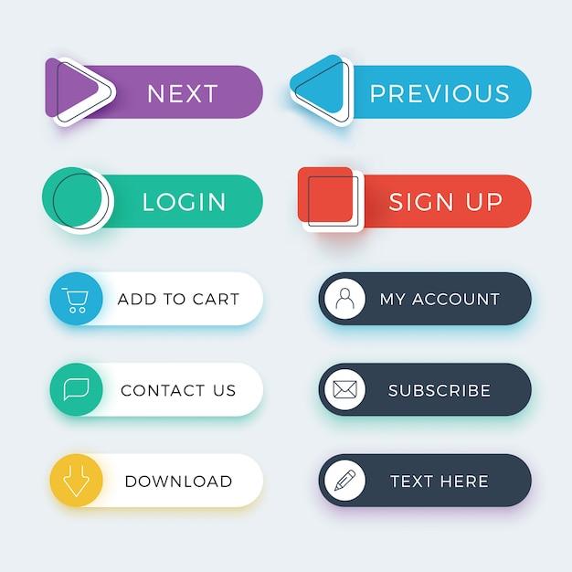 Zestaw modnych kolorowych przycisków aplikacji internetowych i interfejsu użytkownika Premium Wektorów