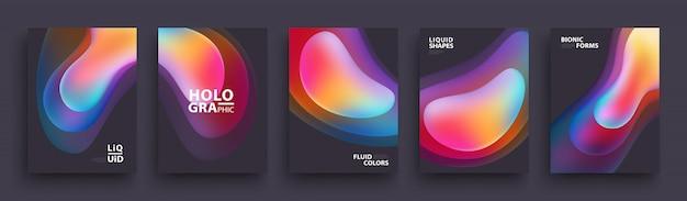 Zestaw modnych kształtów gradientu holograficznego. szablon nowoczesnych okładek. płynne kolory. Premium Wektorów