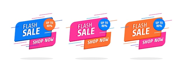 Zestaw Modnych Streszczenie Banery. Flash Sprzedaż Plakat I Baner. Premium Wektorów