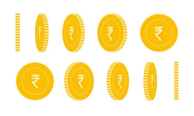 Zestaw Monet Rupia Indyjska, Animacja Gotowa. Obrót żółtych Monet Inr. Indie Metalowe Pieniądze W Różnych P Premium Wektorów