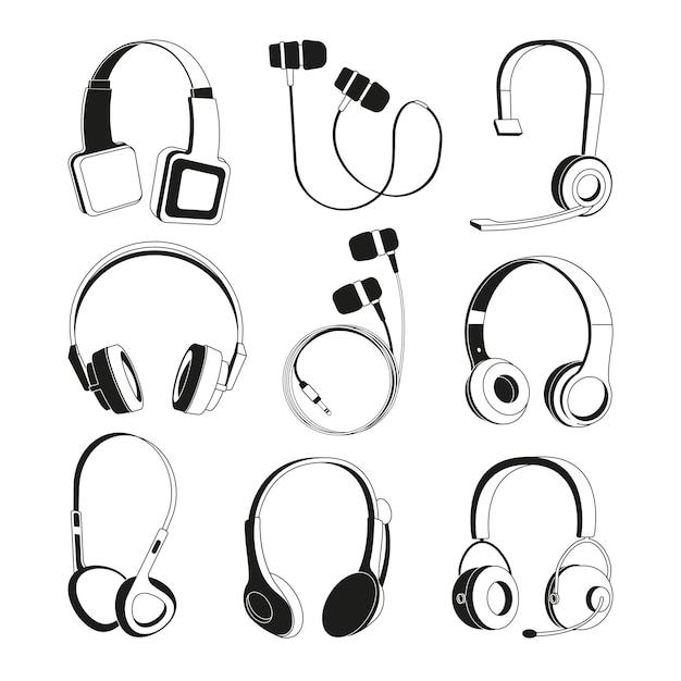 Zestaw monochromatycznych ilustracji. sylwetka słuchawek Premium Wektorów