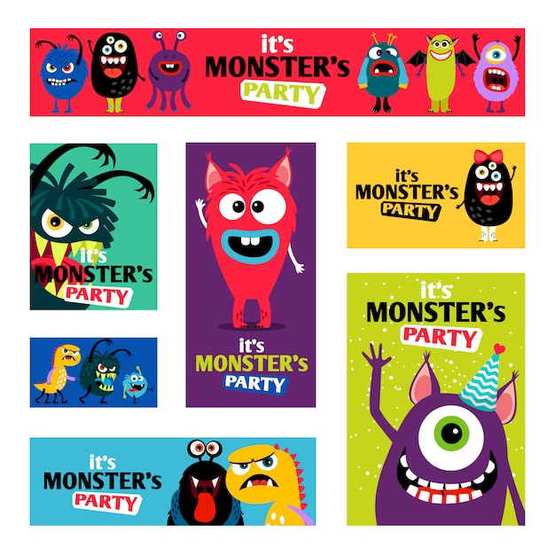Zestaw Monsters Banners Lub Monster Labels For Kids Diary Premium Wektorów