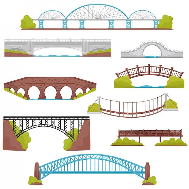 Zestaw Mostów Z Cegły, żelaza, Drewna I Kamienia. Elementy Krajobrazu. Motyw Architektury I Budowy Miasta Premium Wektorów