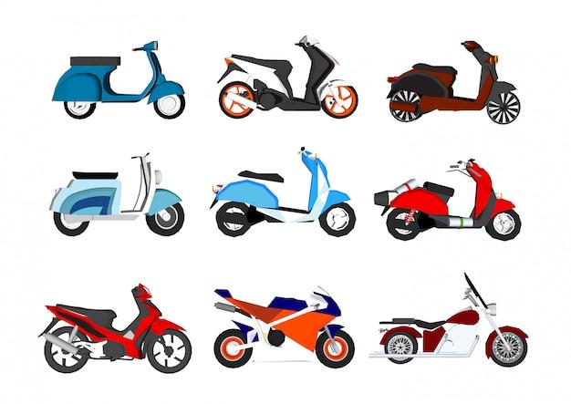 Zestaw motocykli na białym tle Premium Wektorów