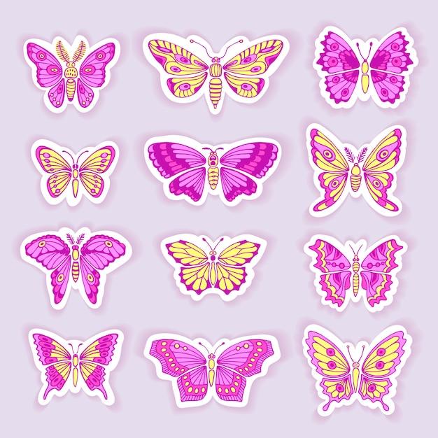 Zestaw Motyli Dekoracyjne Na Białym Tle Sylwetki W Wektorze Premium Wektorów