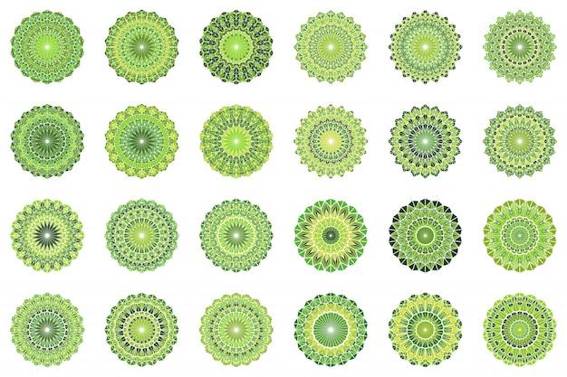 Zestaw Mozaiki Okrągłe Geometryczne Kwiecisty Trójkąt Płytki Mozaiki Premium Wektorów