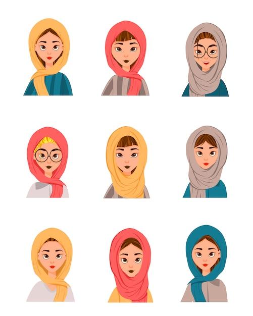 Zestaw Muzułmańskich Kobiet W Szaliku, Burka Premium Wektorów