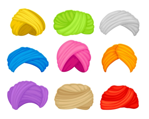 Zestaw Muzułmańskich Turbanów W Różnych Kolorach. Ilustracja Na Białym Tle. Premium Wektorów