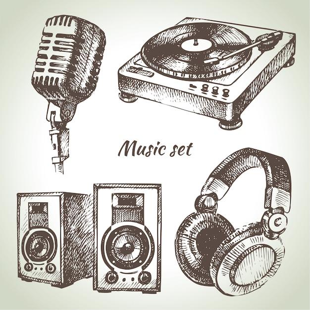 Zestaw Muzyczny. Ręcznie Rysowane Ilustracje Ikon Dj Premium Wektorów