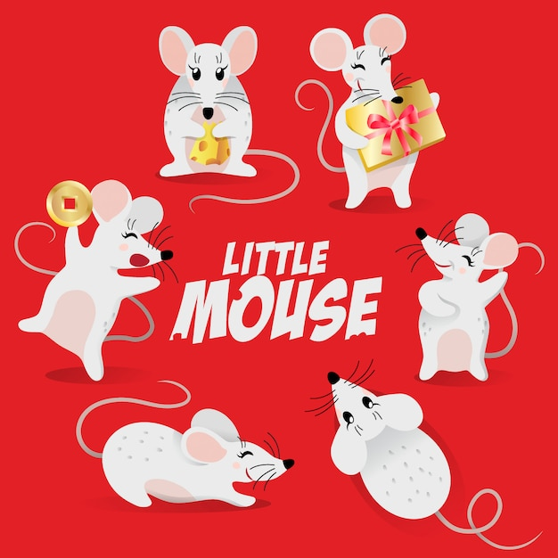 Zestaw Myszy Na Chiński Nowy Rok Premium Wektorów