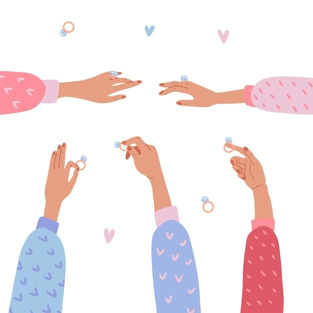 Zestaw Na Białym Tle Eleganckie Kobiece Ręce Trzymając I Pokazując Pierścionki Z Brylantem Premium Wektorów