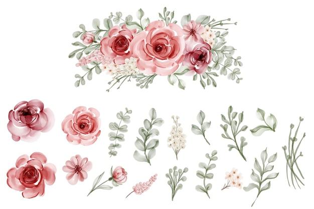 Zestaw Na Białym Tle Kwiat Pozostawia Kwiatowy Akwarela Darmowych Wektorów