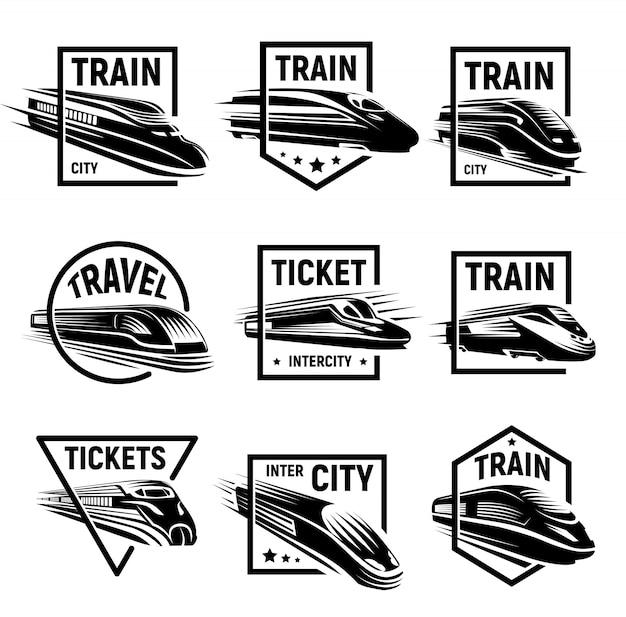 Zestaw Na Białym Tle Monochromatyczne Nowoczesne Grawerowane Logo Pociągów Premium Wektorów