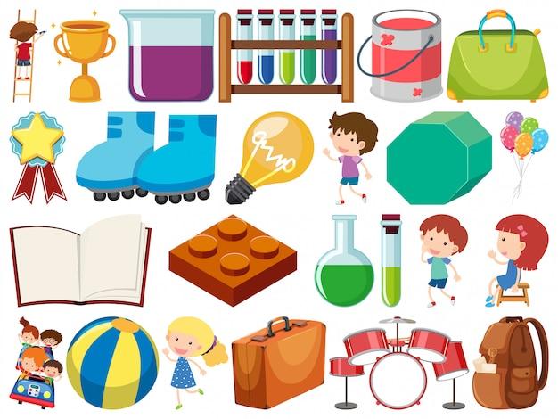 Zestaw Na Białym Tle Obiektów Dzieci I Przedmiotów Szkolnych Premium Wektorów