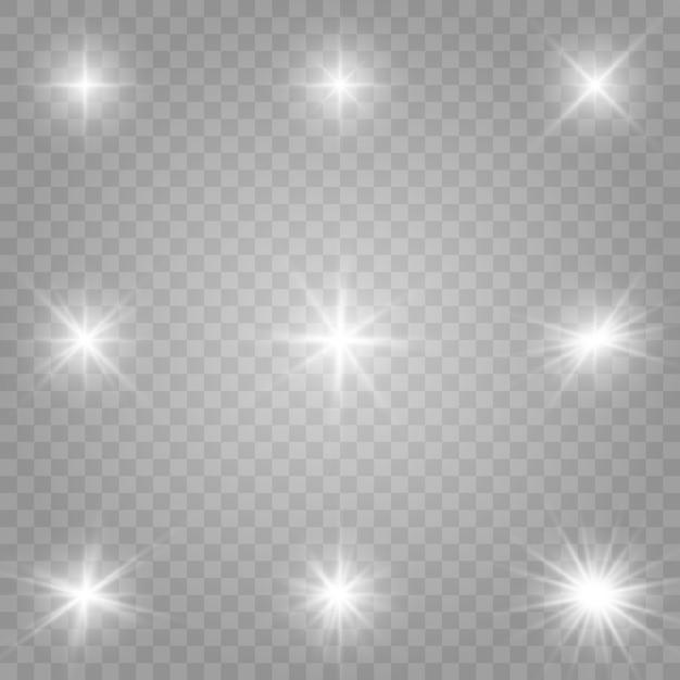 Zestaw Na Białym Tle Przezroczysty Efekt świetlny Blask Premium Wektorów