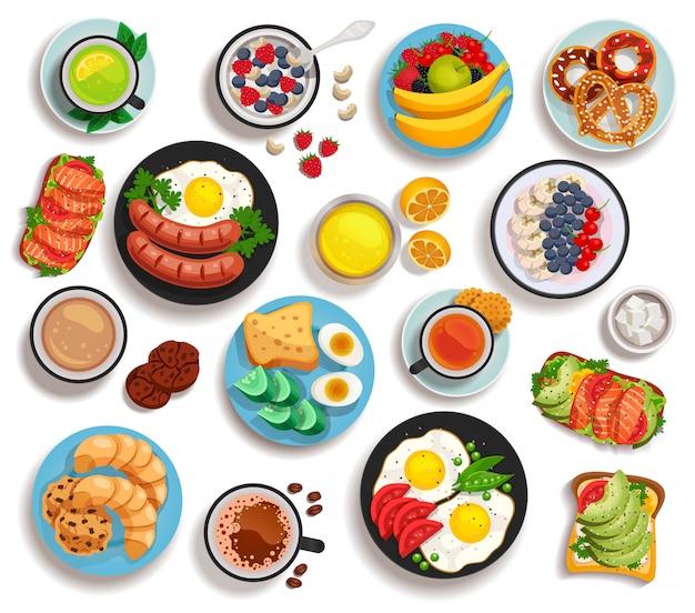 Zestaw Na Białym Tle śniadanie Darmowych Wektorów