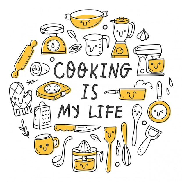 Zestaw Naczyń Kuchennych W Stylu Doodle Kawaii Premium Wektorów