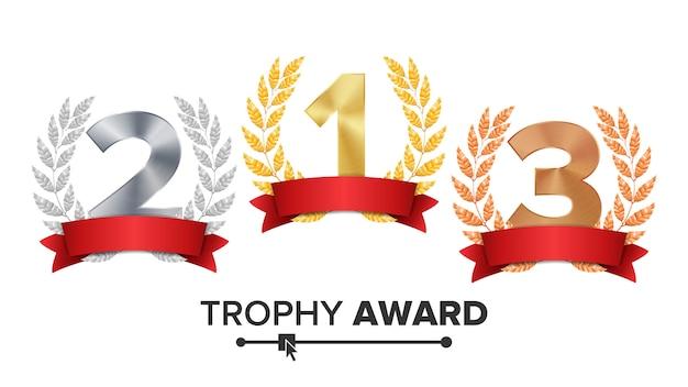 Zestaw nagród trofeum Premium Wektorów