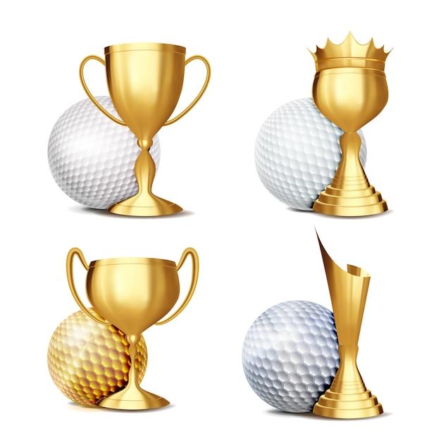 Zestaw nagród w grze w golfa Premium Wektorów