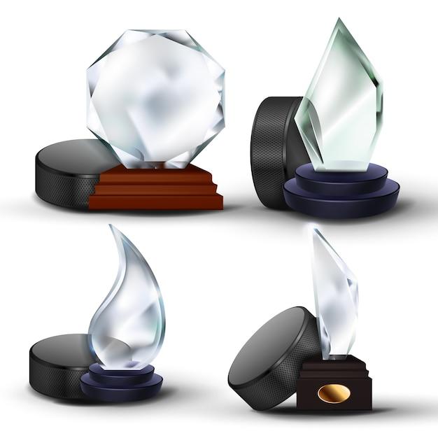 Zestaw Nagród W Hokeju Na Lodzie Premium Wektorów