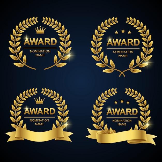 Zestaw nagród złoty wieniec laurowy Premium Wektorów