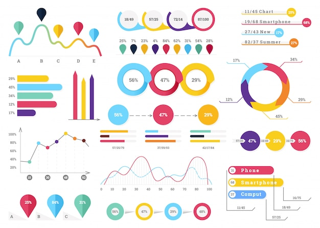 Zestaw najbardziej przydatnych elementów infographic Premium Wektorów