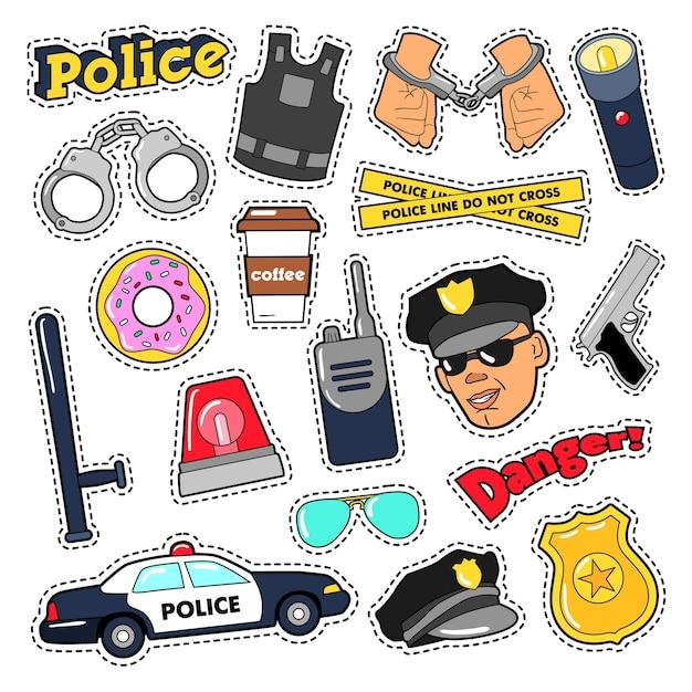 Zestaw Naklejek Bezpieczeństwa Policji Z Funkcjonariuszem, Pistoletem I Samochodem. Doodle Wektor Premium Wektorów
