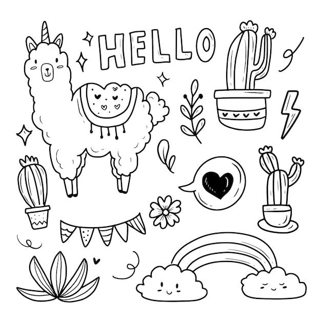 Zestaw Naklejek Do Rysowania Doodle Lamy I Kaktusa Premium Wektorów