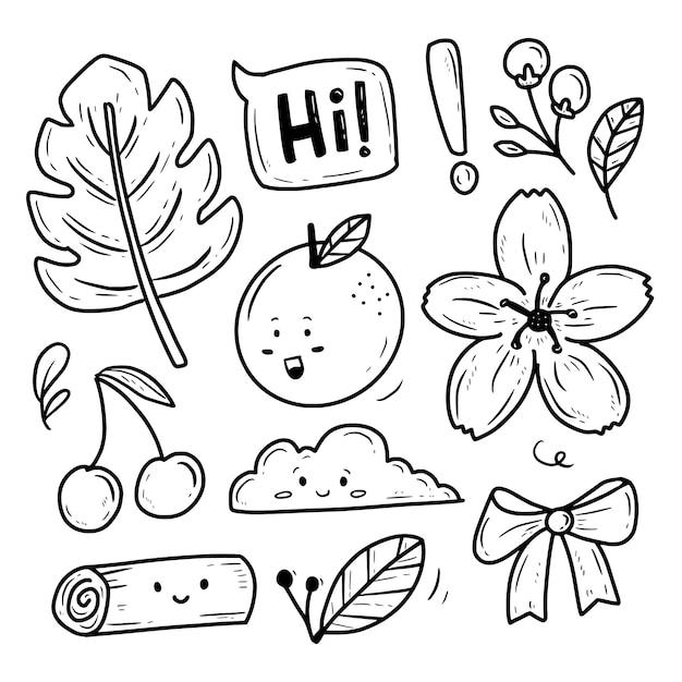 Zestaw Naklejek Do Zbioru Kwiatów I Kwiatów Natury Premium Wektorów