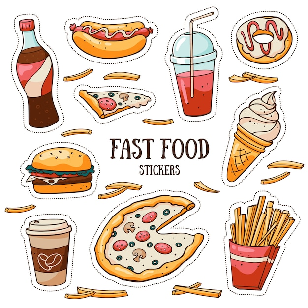 Zestaw Naklejek Fast Food Na Białym Tle Premium Wektorów