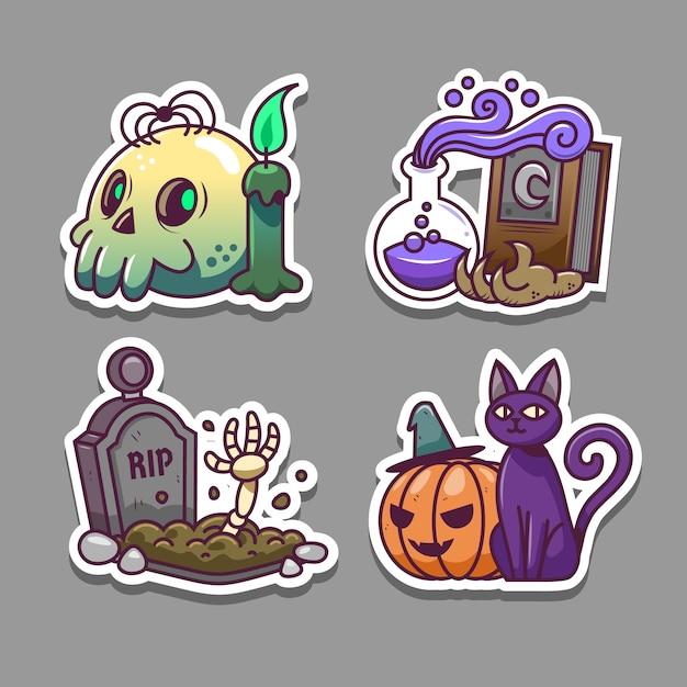 Zestaw Naklejek Halloween Premium Wektorów