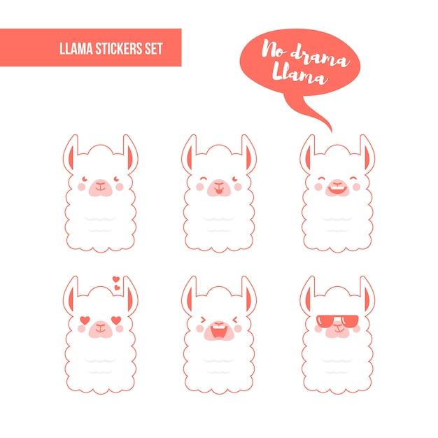 Zestaw Naklejek Llama Premium Wektorów