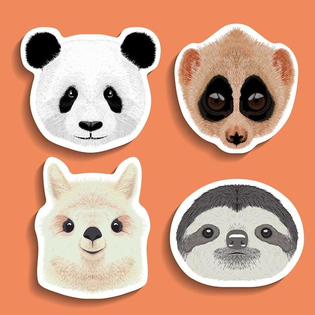 Zestaw Naklejek Panda Lenistwo Alpaka Lama Premium Wektorów