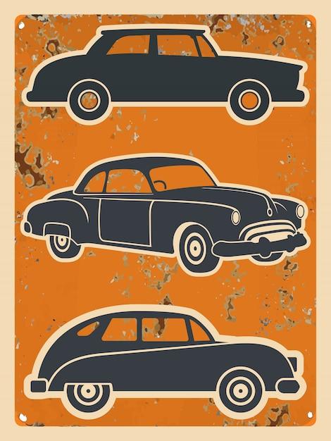 Zestaw naklejek retro samochodów. vintage auto Premium Wektorów